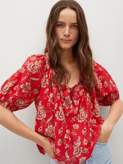 Bluză 'CALABASA' MANGO pe maro deschis / rosé / roșu / alb, Vizualizare model