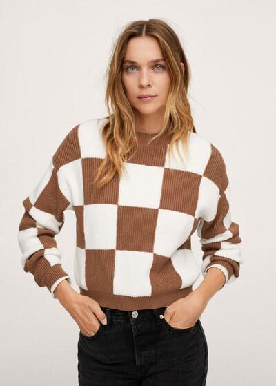 MANGO Pullover 'Chess' in braun / weiß, Modelansicht