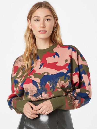 DIESEL Pullover in navy / khaki / rosa / grenadine, Modelansicht