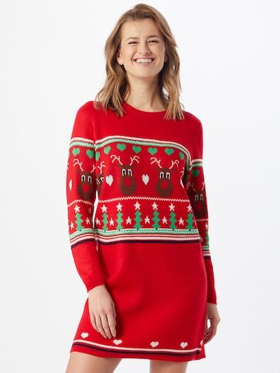ONLY Robes en maille 'XMAS VIBE' en mélange de couleurs / rouge, Vue avec modèle