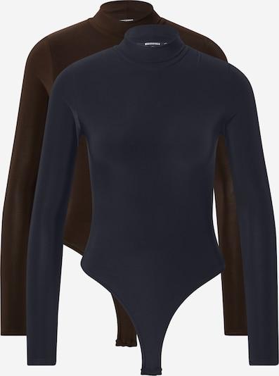Missguided Košeľové body - námornícka modrá / čokoládová: Pohľad spredu