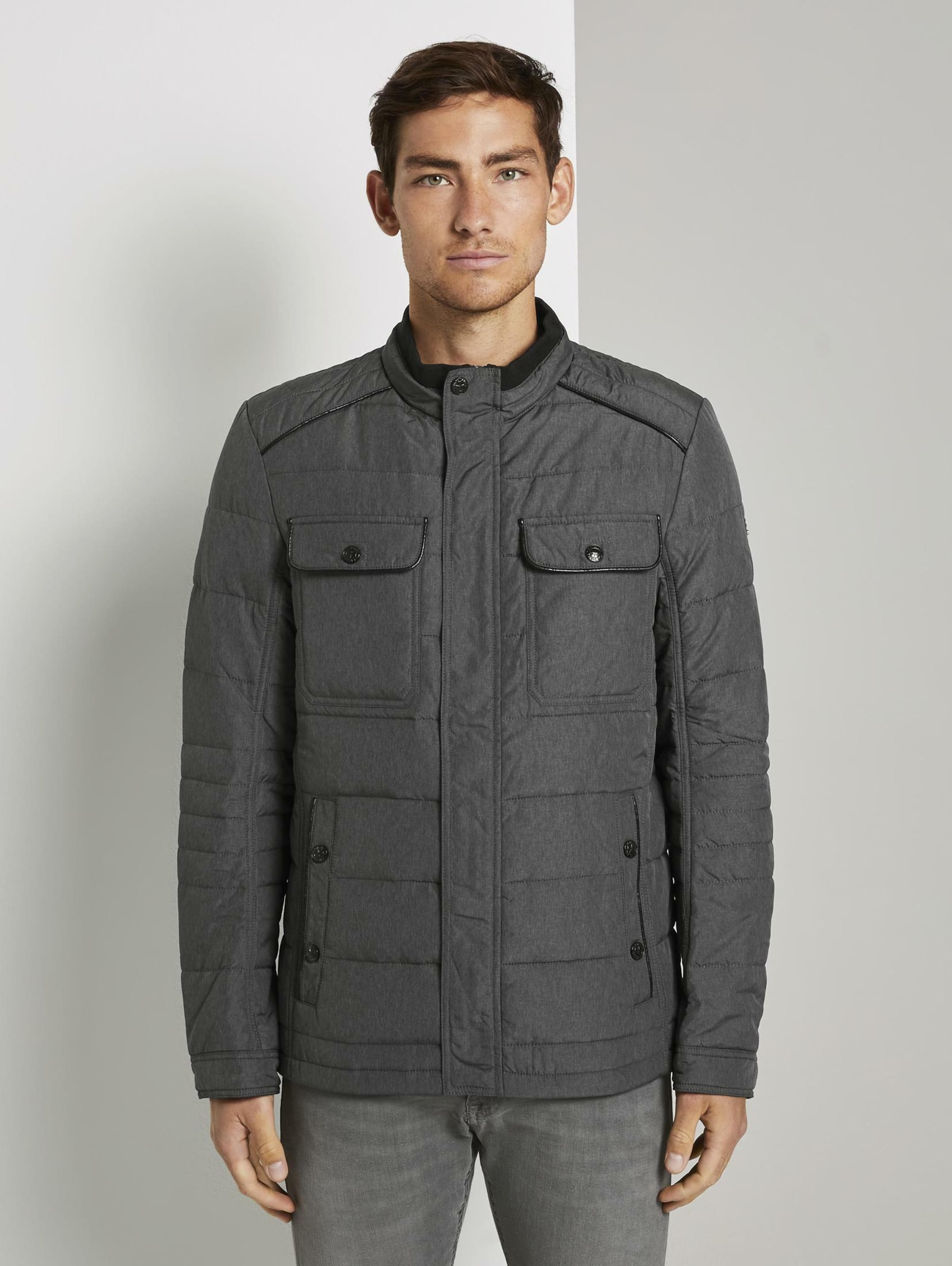 TOM TAILOR Jacke in grau / schwarz Unifarben 1019759008