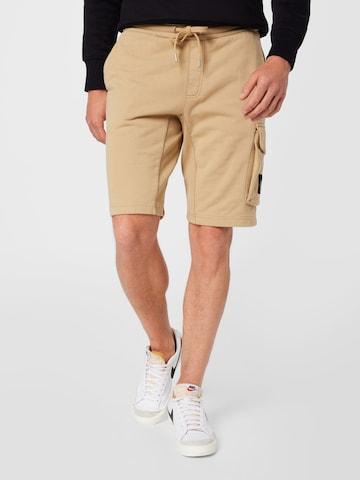 Calvin Klein Jeans Klapptaskutega püksid, värv beež