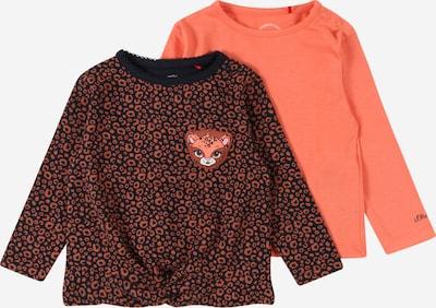 s.Oliver T-Shirt en bleu foncé / marron / corail / noir, Vue avec produit