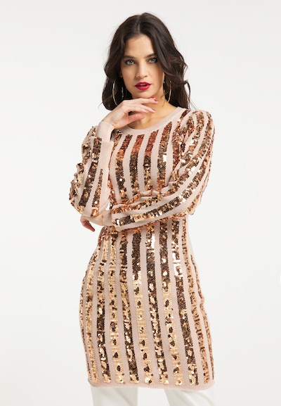 Rochie tricotat faina pe auriu - roz / roz, Vizualizare model