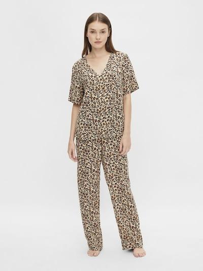 PIECES Pyjama 'Anja' in beige / braun / cognac: Frontalansicht