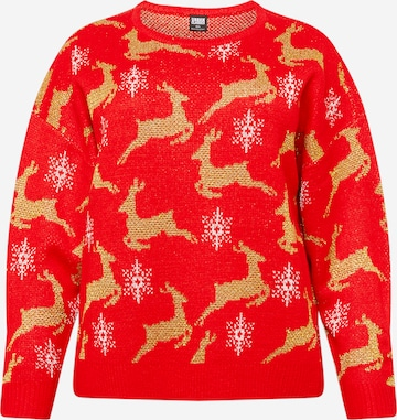 Pull-over oversize 'Christmas' Urban Classics Curvy en rouge
