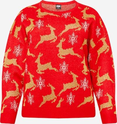 Urban Classics Curvy Širok pulover 'Christmas' | zlata / rdeča / bela barva, Prikaz izdelka