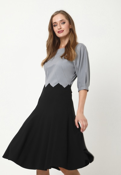 Madam-T Kleid 'ERGO' in grau / schwarz, Modelansicht