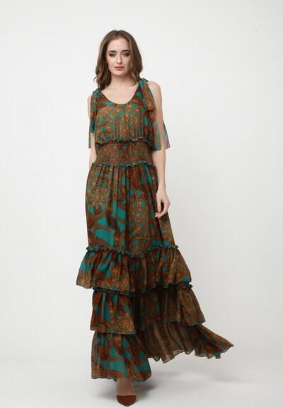 Madam-T Kleid 'Nikoletta' in pastellblau / karamell, Modelansicht
