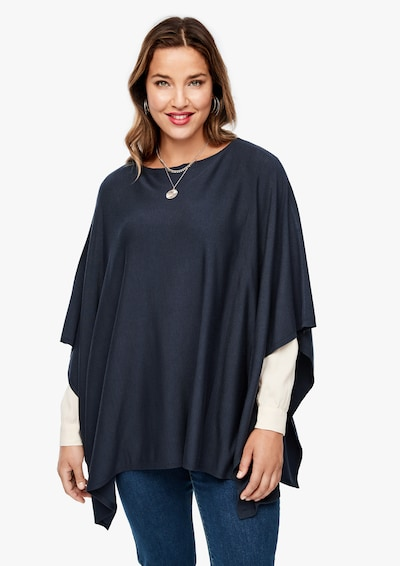 TRIANGLE Poncho in navy: Frontalansicht