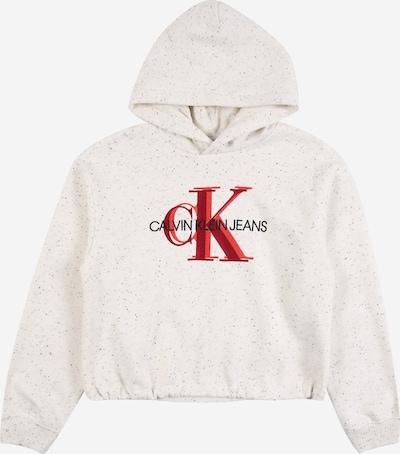Calvin Klein Sweat-shirt en rouge / rouge orangé / noir / blanc chiné, Vue avec produit