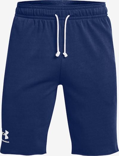 UNDER ARMOUR Sportbroek 'Rival Terry' in de kleur Donkerblauw / Wit: Vooraanzicht