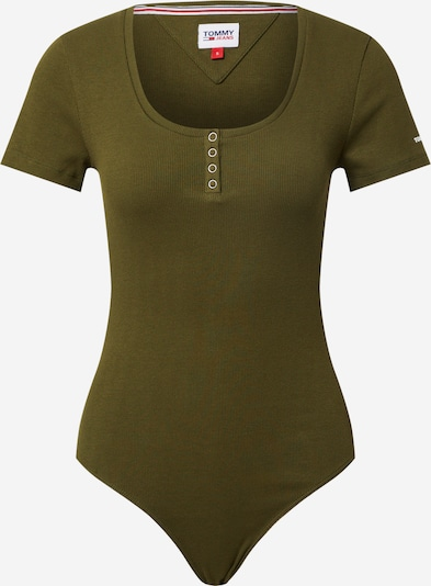 Tommy Jeans Shirt Bodysuit in Olive / White, Item view