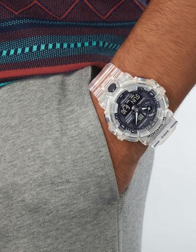 CASIO Uhr in transparent / weiß: Frontalansicht