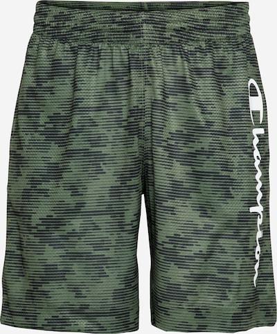 Sportinės kelnės 'Bermuda' iš Champion Authentic Athletic Apparel , spalva - tamsiai mėlyna jūros spalva / rusvai žalia / alyvuogių spalva / balta, Prekių apžvalga