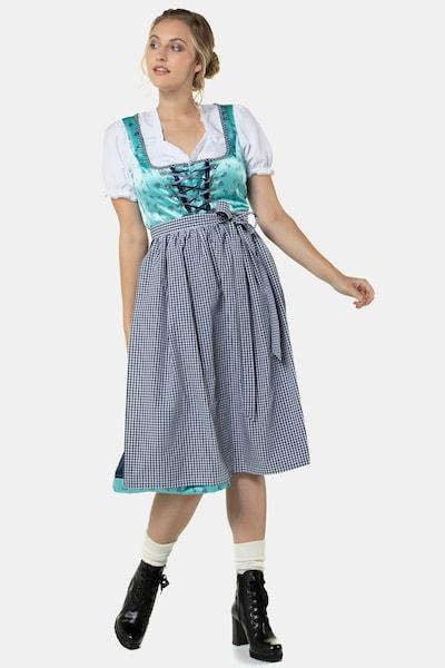 Ulla Popken Dirndl in türkis / graumeliert / schwarz / weiß, Modelansicht