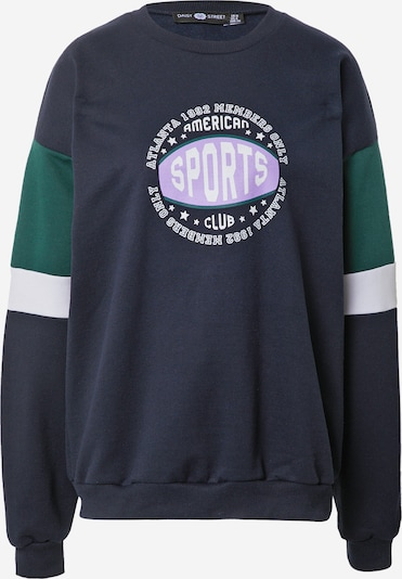 Daisy Street Sweatshirt 'LEAH' in Night blue / Dark green / Mauve / White, Item view