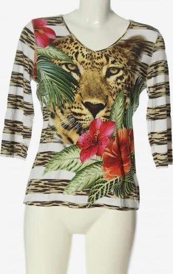 IMAGINI V-Ausschnitt-Shirt in M in grün / weiß / wollweiß, Produktansicht