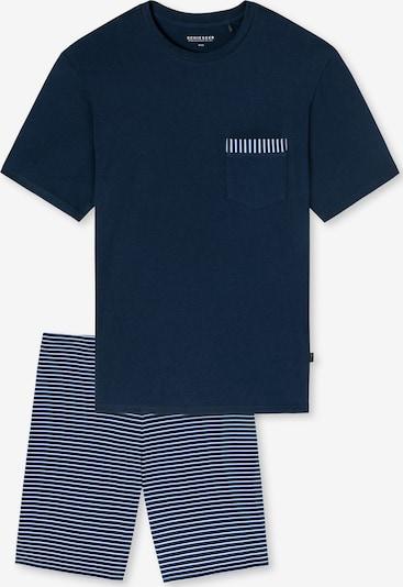 SCHIESSER Pyjama in himmelblau / dunkelblau / weiß, Produktansicht