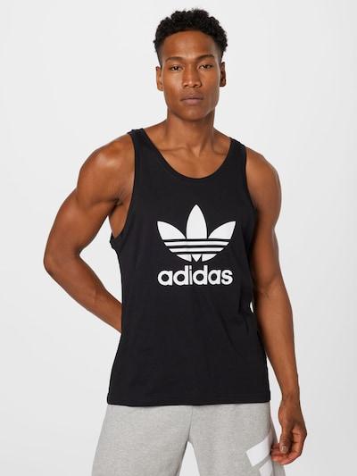 ADIDAS ORIGINALS Тениска 'TREFOIL' в черно / бяло: Изглед отпред