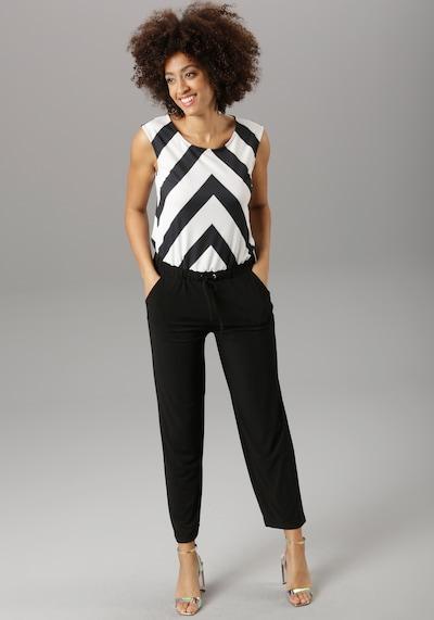 Aniston SELECTED Jumpsuit in schwarz / weiß, Modelansicht