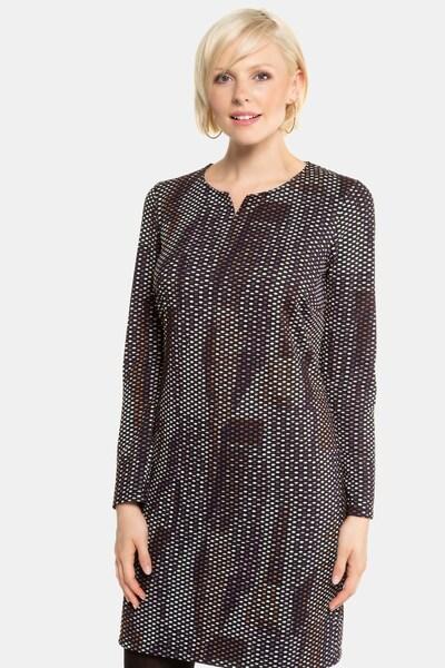 Gina Laura Kleid in braun / pflaume / flieder / mauve, Modelansicht