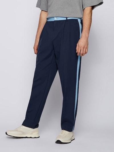 világoskék / sötétkék BOSS Casual Élére vasalt nadrágok 'Prewit Russell Athletic', Modell nézet
