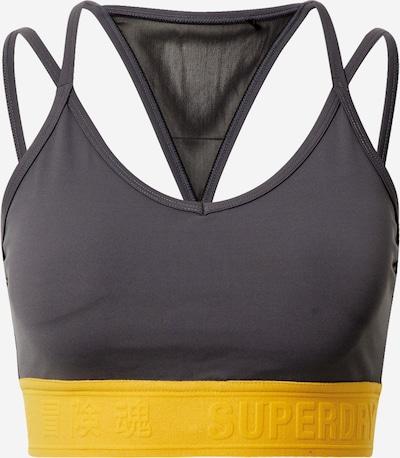 Superdry Športni nederček | temno rjava / rumena barva, Prikaz izdelka