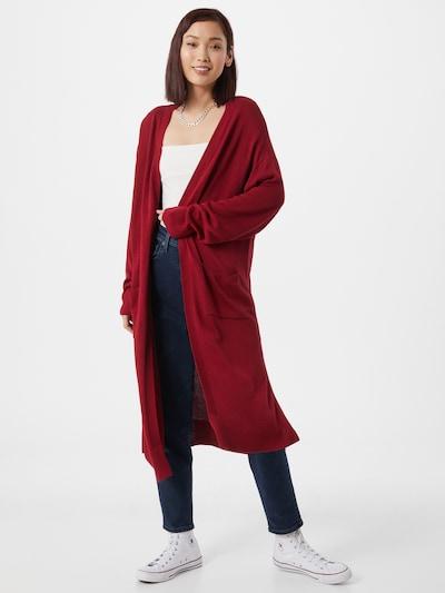 Ilgas kardiganas iš NU-IN , spalva - tamsiai raudona, Modelio vaizdas