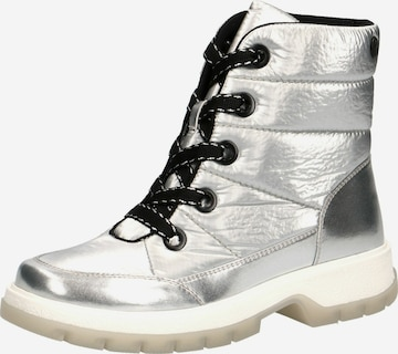 CAPRICE Lace-Up Ankle Boots in Silver