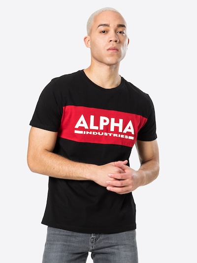 ALPHA INDUSTRIES Shirt in red / black / white: Frontal view
