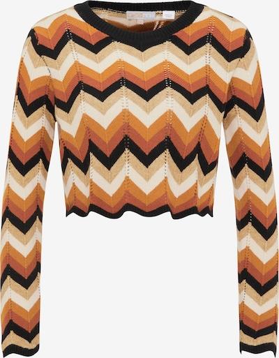 myMo NOW Pullover in camel / orange / koralle / schwarz / weiß, Produktansicht
