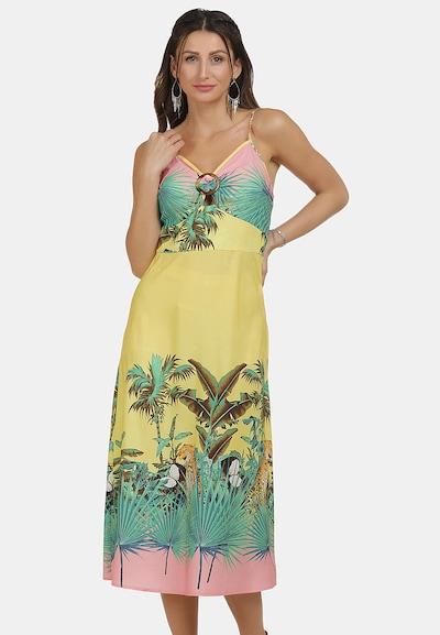 IZIA Kleid in blau / braun / gelb / mint / rosa, Modelansicht