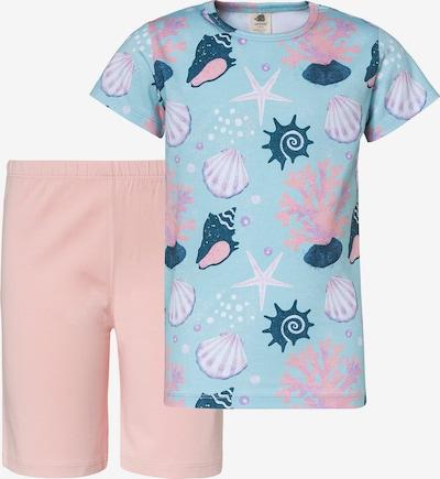 Walkiddy Schlafanzug in hellblau / smaragd / dunkellila / pfirsich / weiß, Produktansicht