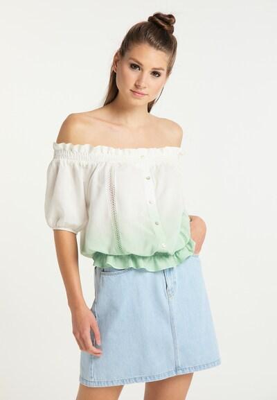 MYMO Bluse in pastellgrün / weiß, Modelansicht