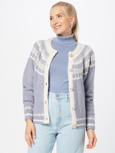 Lollys Laundry Strickjacke in rauchblau / weiß, Modelansicht