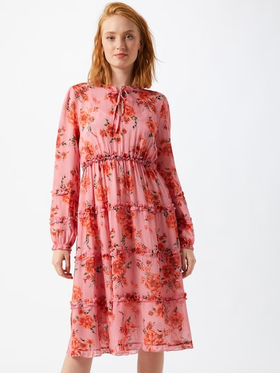REPLAY Kleid in dunkelgrün / dunkelorange / hellpink / rot, Modelansicht