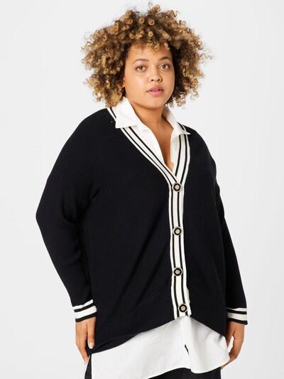 River Island Plus Strickjacke in schwarz / weiß, Modelansicht