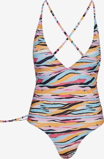 VERO MODA Badeanzug 'Caras' in hellblau / safran / pink / hellpink, Produktansicht