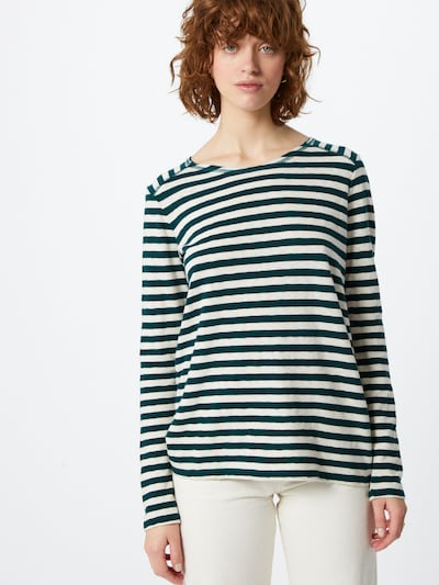 Marc O'Polo Shirt in dunkelgrün / weiß: Frontalansicht