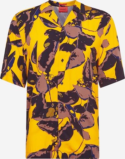 HUGO Hemd 'Efab' in goldgelb / taupe / burgunder, Produktansicht