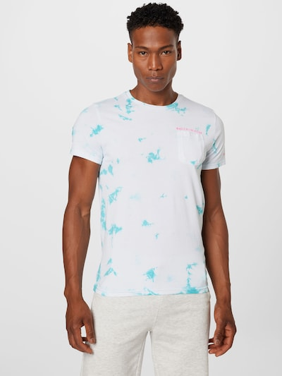 Petrol Industries Тениска в синьо / бяло: Изглед отпред