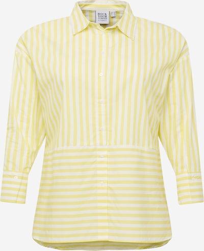 Rock Your Curves by Angelina K. Blusa en amarillo claro / blanco, Vista del producto