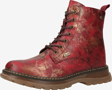 RIEKER Lace-Up Ankle Boots in Red