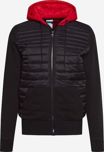 TOMMY HILFIGER Sweatjacke 'JACQUARD MIXED MEDIA ZIP HOODY' in schwarz, Produktansicht