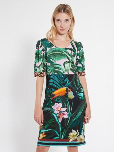 Ana Alcazar Kleid 'Ceily' in smaragd / jade / tanne / neonorange / rosa, Modelansicht