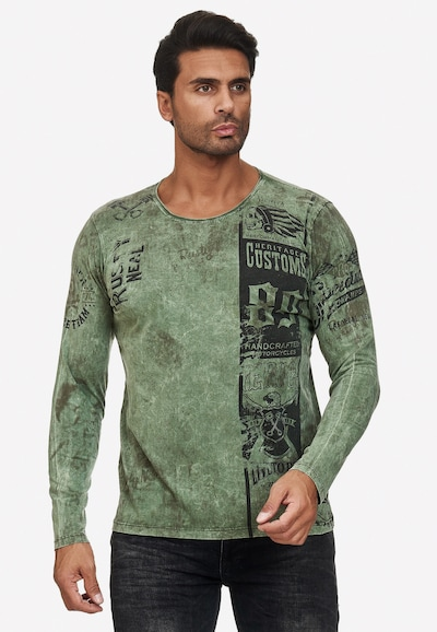 Rusty Neal Langarmshirt mit plakativem Front & Back Print in khaki: Frontalansicht