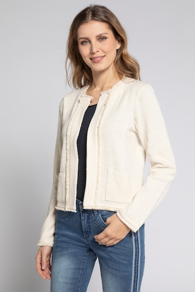 Gina Laura Gina Laura Damen Jacke, Struktur-Qualität, Fransenkanten, Boxyform 749469 in rosé: Frontalansicht