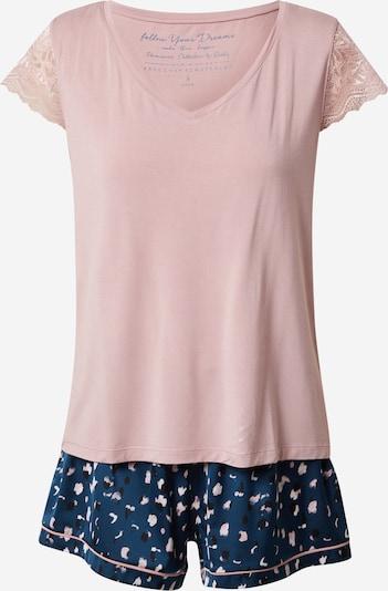 ESOTIQ Pyjama 'EXA' en bleu nuit / rose ancienne / blanc, Vue avec produit